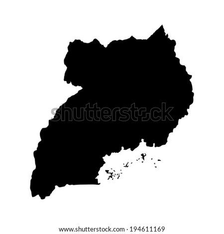 Uganda vector map high detailed illustration isolated on white background. - stock vector