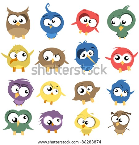 ugly birds - stock vector