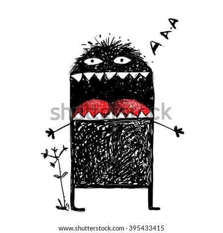 Ugly Character Monster Screaming. Black funny creature scribble, bizarre humorous creative character. Sketchy vector illustration - stock vector
