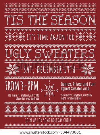 Ugly Christmas Sweater Party invitation template - stock vector