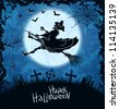 Ugly witch flying over cemetery. Blue grungy halloween background. Vector Illustration. - stock vector