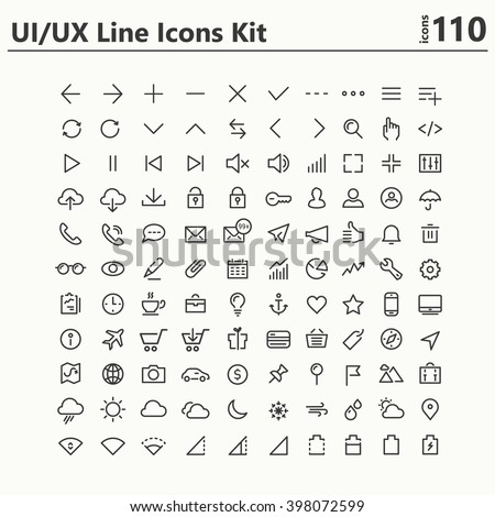 UI and UX big bold line icons kit
