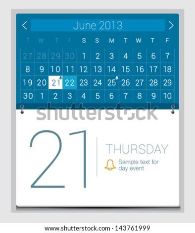 UI calendar - stock vector