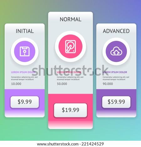 UI design. User interface price list widget buttons. Vector eps 10. - stock vector