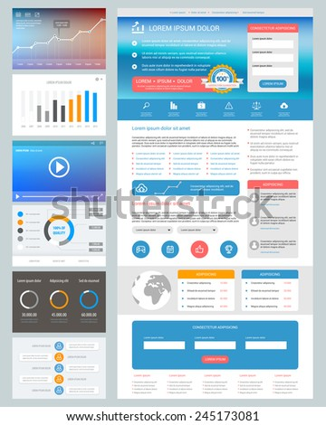 UI design. Website design template with ui elements. - stock vector