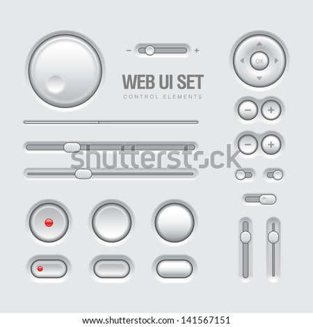 UI Elements.  Design Gray. Elements: Buttons, Switchers, Slider - stock vector