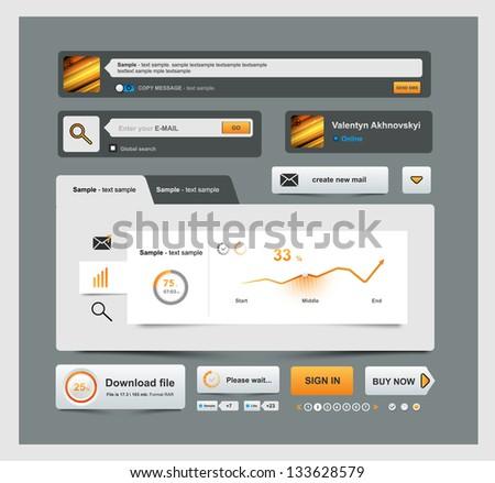 UI Elements Design grey, Web site design, Bussiness - stock vector