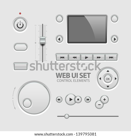UI Elements Design Light Gray. Elements: Buttons, Switchers, Slider - stock vector