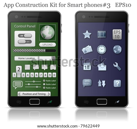 UI elements for Smart phone. User interface template. EPS 10. Vector illustration - stock vector