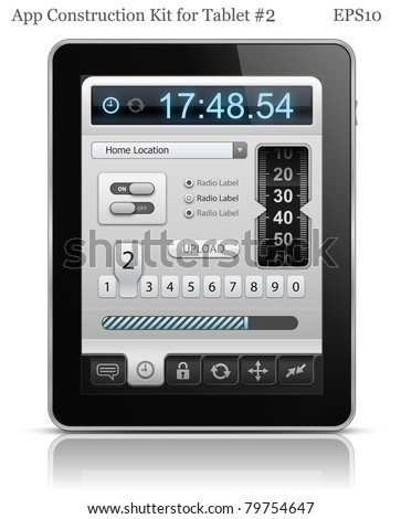 UI elements for Tablet. User interface template. EPS 10. Vector illustration - stock vector
