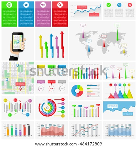 Ui, elements of infographics collection. Vector illustration.