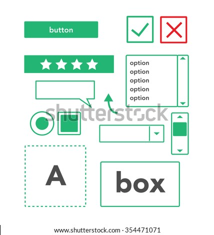 UI elements set of components featuring the flat design trend EPS10   - stock vector
