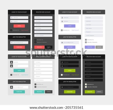 UI elements, 4 sets of login, newsletter and registration form, flat design - stock vector