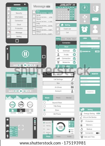 UI FLAT DESIGN  COLLECTIONS 2 GREEN - stock vector