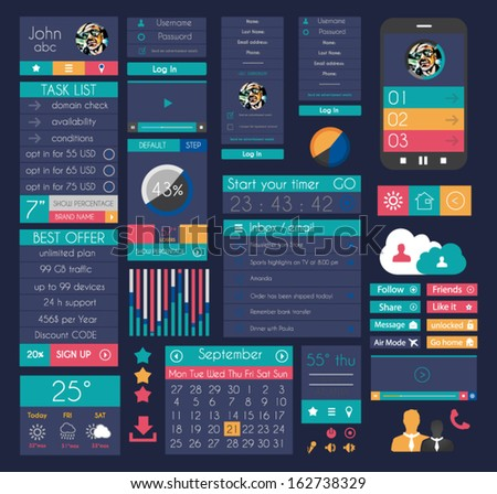 UI Flat Design Elements for Web, Infographics, Data display, Blogs and   Business presentations. - stock vector