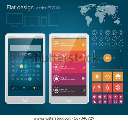 UI flat design web elements with Calendar and Map of World - stock vector