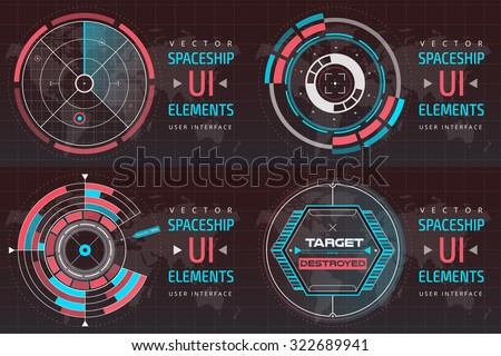 UI hud infographic interface screen monitor radar set web elements. Futuristic space thin HUD user interface. Web UI interface elements,UI elements, UI design, UI vector icons.Game target radar map - stock vector