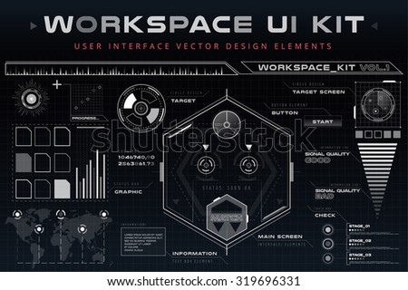 UI hud infographic interface web elements. Futuristic space thin HUD user interface. Web UI interface elements, UI elements, UI design, UI vector icons. Game target navigation interface hud ui design - stock vector