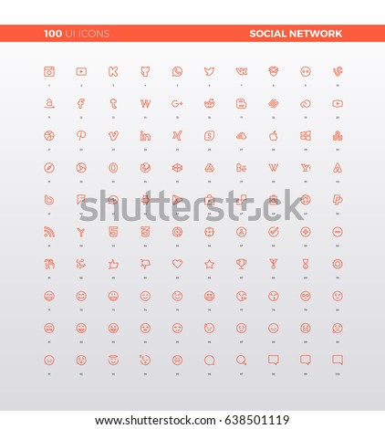 UI icons of social network logo, social media website logotypes, emoji and ideograms for social internet communication. 32px simple line icons set. Premium quality symbols and sign web logo collection