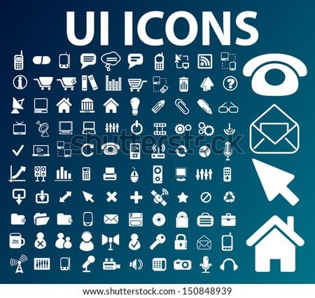 ui, interface, web design icons set, vector - stock vector