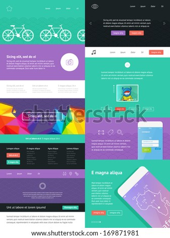 UI is a set of components featuring the flat design trend - stock vector