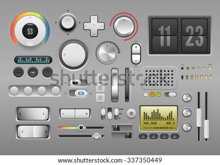 UI Kit, control elements or audio equipment - stock vector