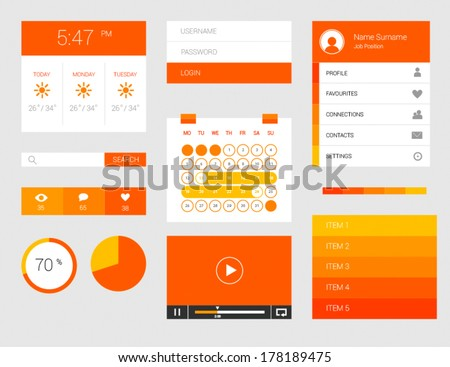 UI kit of beautiful flat thin components for web design and widgets - stock vector