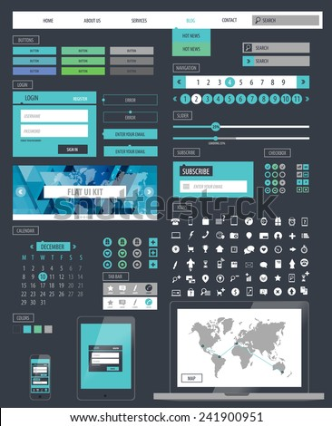 Ui kit responsive web design. Icons, template mockup. - stock vector