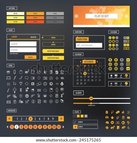 Ui kit responsive web design. Icons, template mockup. - stock vector