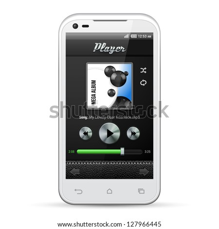 UI Mobile Application Metal Controls Set. White Smartphone 480x800. Audio, Video, Player, Button, Progress Bar, Random, Repeat, Icons. Web Design Elements. Software. Vector User Interface EPS10