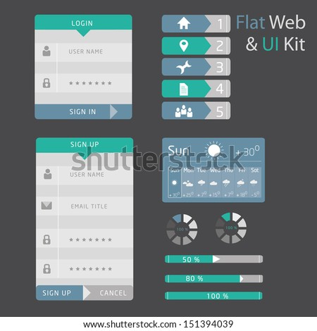 UI set of  flat design  - stock vector