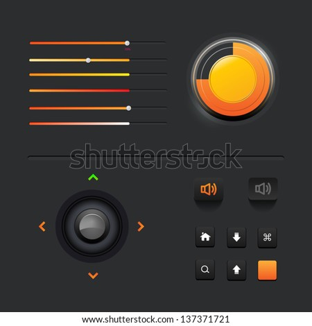 UI Web Elements: Buttons, Switchers, On, Off, Player, Audio, Video - stock vector