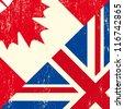 UK and canadian grunge flag - stock