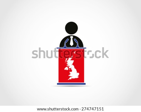 UK Britain Businessman Politician Corporate Candidate Speech - stock vector