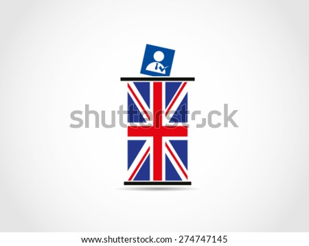 UK Britain Candidate Vote Ballot Box - stock vector