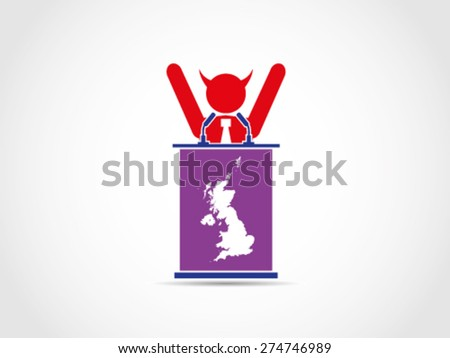UK Britain Evil Bad Corrupt Win Celebrate Election Politician - stock vector