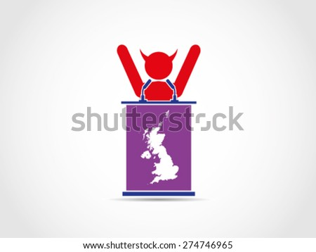 UK Britain Evil Supporter Celebrate - stock vector