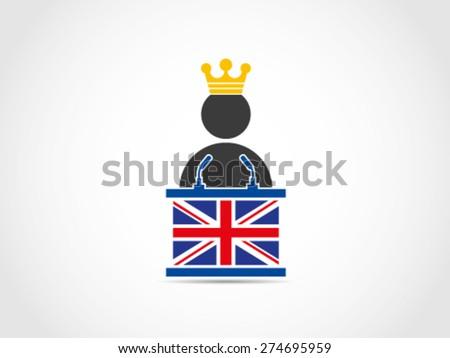 UK Britain King Speech Policy - stock vector