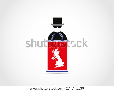 UK Britain Mafia Speech Public - stock vector