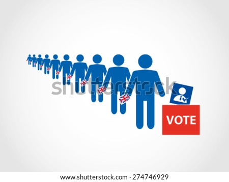 UK Britain Voting Ballot Box Queue - stock vector