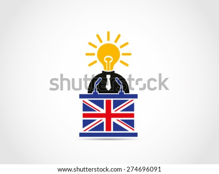 UK Businessman Politician Prime Minister Inspire Brilliant Idea Policy Solution Speech Podium  - stock vector