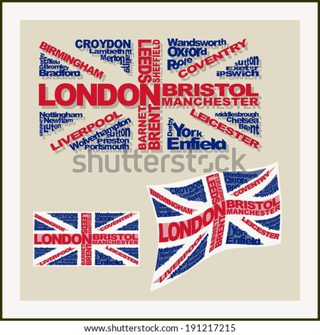 UK flag made of words major cities. Concept - stock vector