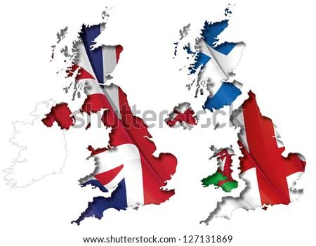 UK Flag-Map Inner Shadow - stock vector