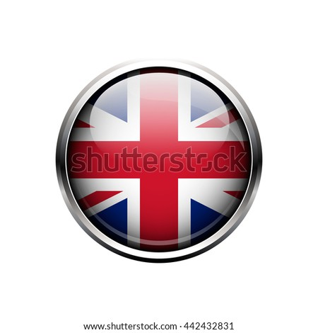 UK flag. Round metal glass glossy button or icon isolated on a white background. - stock vector