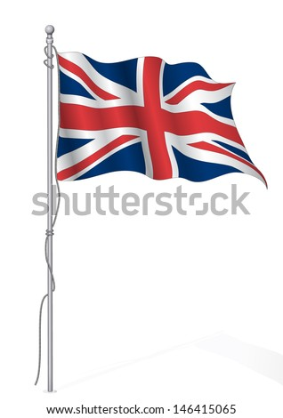 Uk flag waving.Realistic vector. - stock vector