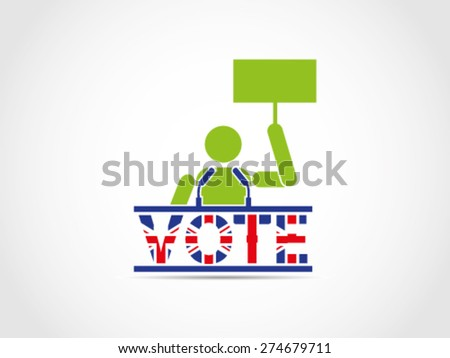UK Great Britain Elections People Folk Aspiration Demonstration Speech Campaign - stock vector