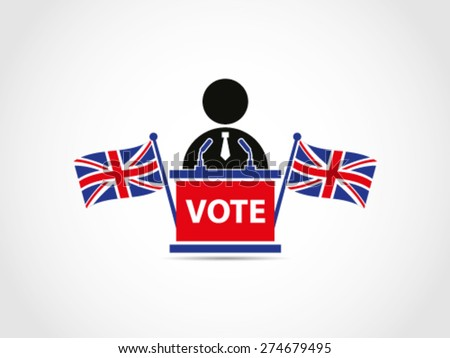UK Great Britain Elections Politician With Flags Cross Speech Campaign For Voting Polling - stock vector
