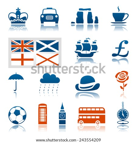 UK icon set - stock vector