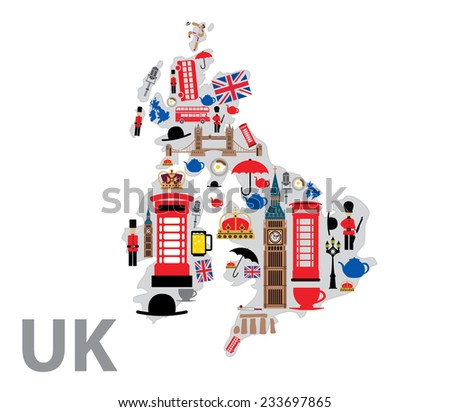 UK Icons Shaping UK Map, United Kingdom Symbols, Abstract Art (Vector Art) - stock vector