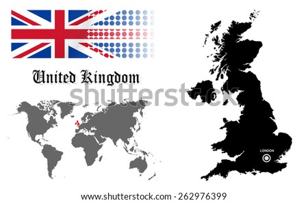 UK info graphic with flag , location in world map, Map and the capital ,London, location.(EPS10 Separate part by part) - stock vector